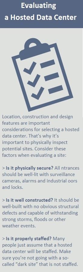evaluate a hosted data center alternative for onsite data center